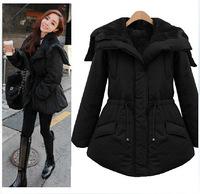 Korean yards thick sherpa interior drawstring waist zipper large lapel coat hat