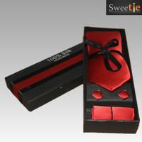 New Classic Plain Solid Red JACQUARD WOVEN 100% Silk Men's Tie Necktie 3pic