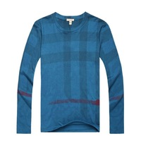 New 2014 Men Brand London Long Sleeve Plaid Casual T-shirts/High Quality Designer Big Check Cotton Tshirt BT1461-90 S-XXL
