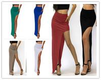 new 2014 novelty skirt Sexy Women Long Skirts Lady Open Side Split Skirt high waist Long Maxi Skirt SK008