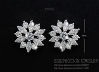 ZSE033  Wholesale 2015 New Brand AAA Cubic Zirconia Flowers Wedding Stud Earrings For Women Fashion Jewelry bijoux POXE