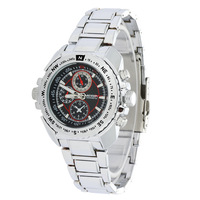 Red Circle Brand MEGIR Quartz Watches Men Stainless Steel Band Wristwatch 2035 Movement + Small Dial No Function MG1005