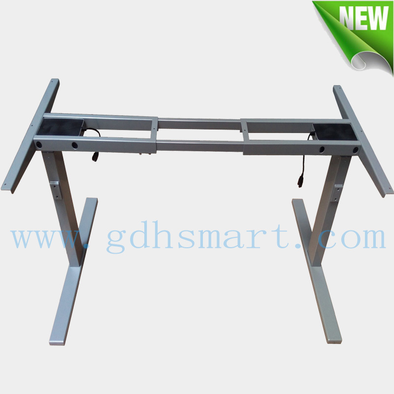 Modern extendable desk & adjustable height table mechanisms & electric workstation with 2 stage lifting columns & metal frame(China (Mainland))
