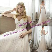 Vestidos De Novia 2015 Sexy Fashionable Dress Bride A Line V Neckline Sheer Back Crystal Wedding Dress Tulle Floor Length