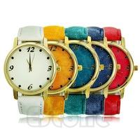 Free Shipping Durable Denim Cloth Strap Bracelet Unisex Sport Blue Watch Quartz Analog Watch