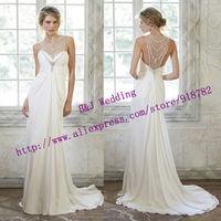 New Design 2015 New Fashionable A Line High Neckline Beading Crystal Chiffon Beach Wedding Dress With Train