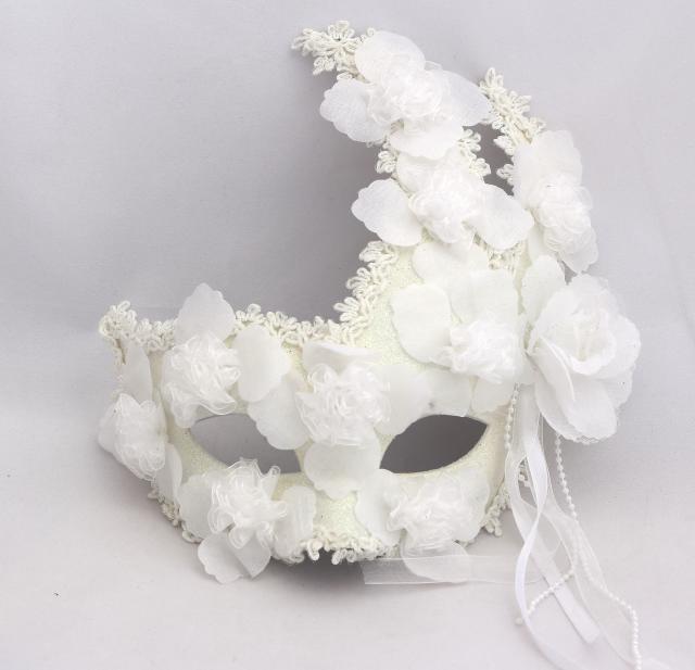 Male and female models plus feather flower lace white full face mask Princess Masquerade Mask Venetian masks 100pcs/lot(China (Mainland))
