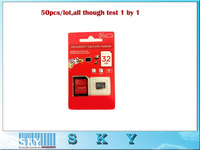 10pcs/lot Cheap New red Memory card Micro SD Card 64GB Class10 Memory Cards Flash +Adapter  DHL  Free shipping