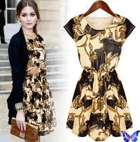 New 2015 Women Casual Clothes Classic Pattern Printing Dress Cotton Sleeveless Slim Vestidos Plus Size