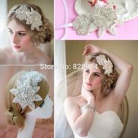 Luxury Vintage Flower Design Rhinestone Applique wedding Bride Head band Made of Crystal stone and Ribbon Handmade Free Shipping