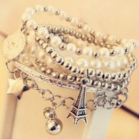 New Bohemian Bead Coins Eiffel Tower Pendant Multilayer Bracelet Charm Jewelry For Women