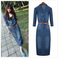spring autumn medium-long fashion slim waist half sleeve denim dress