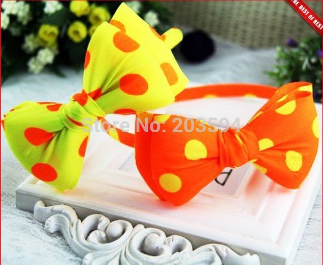 2014 new 12Pcs Factory direct Dot fluorescent color bowknot hair band sweet double hoop hoop girls the gift(China (Mainland))