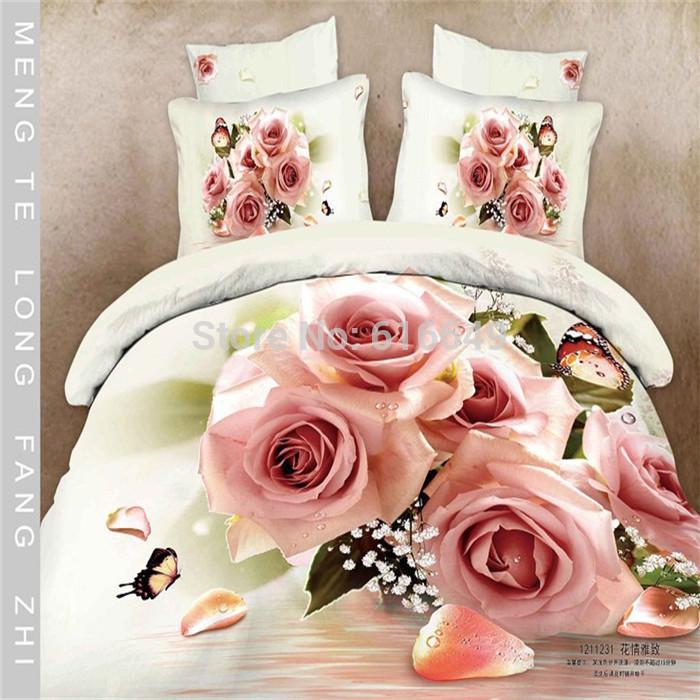 Home textile 3D bedding set pink rose flower bed linen 100%cotton bed set queen size duvet cover/bedspread/bed sheet/quilt cover(China (Mainland))