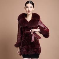 free shipping EMS  one piece fur fox fur coat fur female medium-long genuine leather down coat