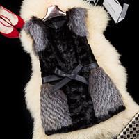 free shipping EMS  2014 fur collar outerwear mink hair vest female 1290