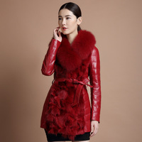 free shipping EMS of the fur one piece slim fox fur coat fur 2014 medium-long down coat female