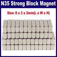 250 pcs/Lot  _  N35 Strong Block Magnets 8mmx3mmx2mm Rare Earth Neodymium