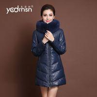 Gfree shipping EMS  enuine leather female medium-long down coat sheepskin fur slim fox fur outerwear