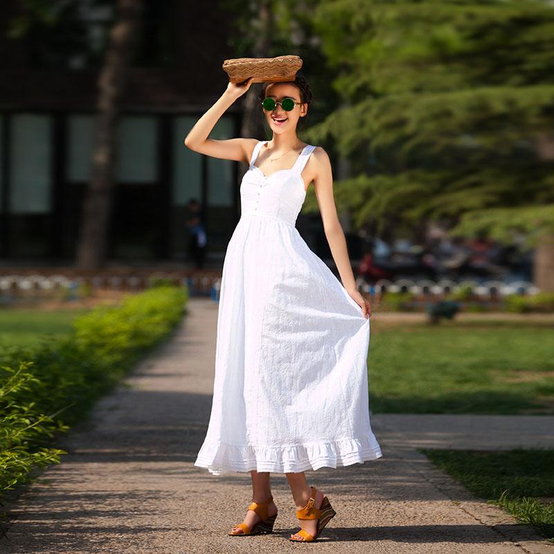 LISA YU original vintage Europe and the major suit the new summer dress cotton straps sleeveless dress big pendulum(China (Mainland))