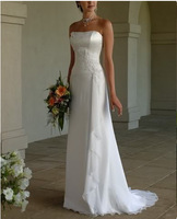 2015 New Free Shipping ! Strapless Chiffon Long Dress With Train White & Ivory Wedding Dresses In Stock