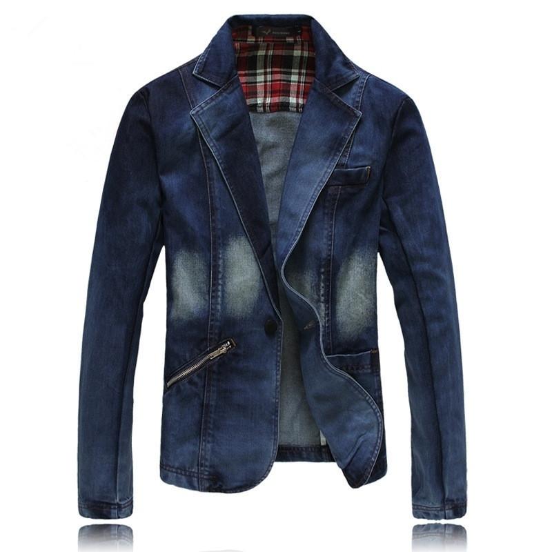 Blazer Casual Pria Casual Jean Coats Blazer