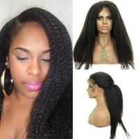 Cheap Italian Yaki African American Wig Glueless Brazilian Virgin Remy Human Hair Kinky Straight Lace Front Wigs For Black Women