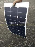 High efficiency Sunpower 50w  monocrystalline silicon transparent flexible half flexible solar panel/car 12 v car solar panels