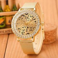 New Fashion Women Rhinestone Golden Leopard Watches Women Dress Quartz Watches