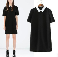 Women Dress 2015 Vestidos Brief Ladies Casual Dress Back Zipper Slim Color Blocking Collar Short Sleeve Vintage Brand Dresses