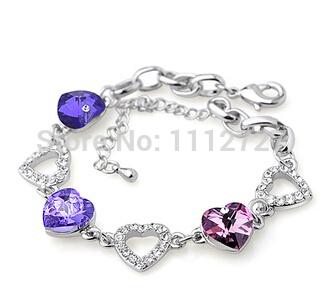 High-grade Refined Heart Shape Crystal Bracelet Hand Decorated Bracelets Fashion Jewelry Multilayer Chain Female Bracelet(China (Mainland))