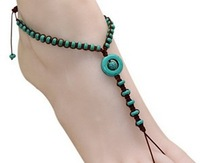 New fashion beach turquoise beaded jewelry toes bracelet chain even feet fetters