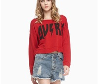 Rhinestone street casual loose round neck long-sleeved short paragraph printed pullover
