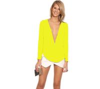 Ebay fashion sexy mini v-neck long-sleeve chiffon elegant women's T-shirt