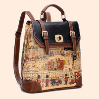 New arrival 2015 fashion preppy style female doodle print casual backpack leather women's school student travel backpack