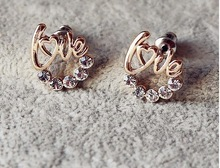 2015 HOT New Arrival cute Gold Plated LOVE Heart Crystal Stud earring For Women 3E0183