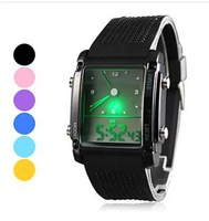 2015 New and high quality Fashion designed Double Movts Colorful LED Analog and Digital Men women Creative Wrist Watch