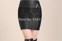 Free Shipping pu leather skirt lace wap skirt  saia renda slim hip skirt  for women saias feminina  2015 de rendas lace skirts