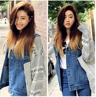 Fashion Stylenanda Outerwear Winter With Hood Knitting Sleeve Splicing Character Joker Denim Jacket  Female 1501102