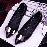 New 2015 Women Flats Shoes Zapatos Mujer Pu Leather Moccassins Platform Shose Pointed Toe Sapatos Femininos Black Casual Shoe