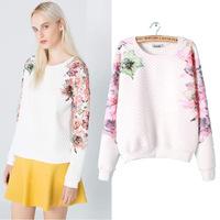 2015 new European and American women's  diamond lattice flower print sweatershirt free shipping