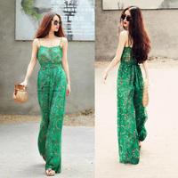Harem pants summer chiffon jumpsuit long culottes female spaghetti strap clothing trousers