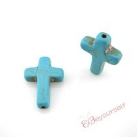 100pcs/lot T45 Wholesale Aquamarine Cross Calaite Kallaite Turquoise Beads Loose Gemstones 18x25mm