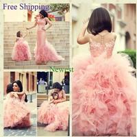 70 2015 sheer back lace ball gown flower girl dresses for weddings girls pageant dresses prom dress children vestido de daminha