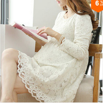 The new Spring 2015 Maternity fashion lace dress loose long-sleeved round neck and long sections of pregnant women dress(China (Mainland))