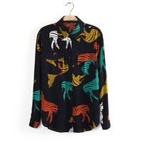 2015 New fashion zebra print retro loose cotton shirts Women long sleeve blouses DQ002