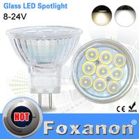 Foxanon Brand MR16 DC 8-24V Led Spotlight 2835 SMD 9Leds 12V Glass Body 120 degree Lens Lamp 3W Spot Light Led Bulb lighting