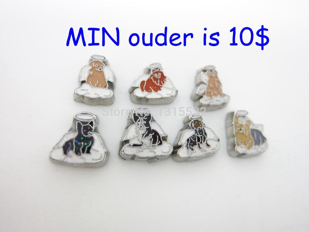 Angel dogs floating charm pendants glass box Free International Shipping(China (Mainland))