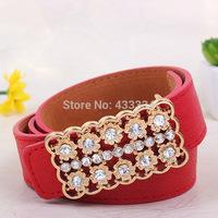 2015 new  leisure fashionable joker belt flowers diamond inlaid smooth buckle pu belt