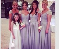 Free shipping A-line sweetheart elegant off-shoulder Purple chiffon beaded cheap bridesmaid dresses 2015